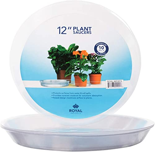 """wholesale Royal Imports Plastic Planter wholesale Saucer, Clear Drip Tray, Flower Pot Disposable Bowl Plate, Moisture lowest Drainage Liner for Home and Garden, 12"""", 10-Pack online sale"""