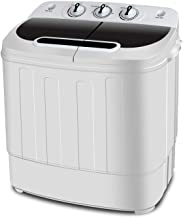 SUPER DEAL Portable Compact Mini Twin Tub Washing Machine w/Wash and Spin Cycle, Built-in Gravity Drain, 13lbs Capacity Fo...