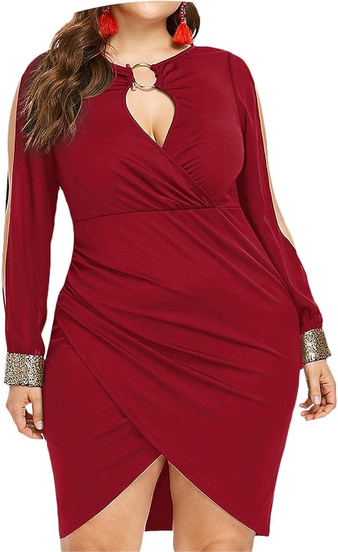 Plus Size Keyhole Neck Slit Bodycon Dress Women Sexy Mini Asymmetrical Dresses