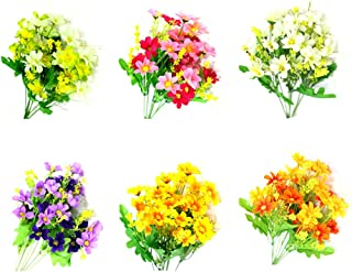 Artificial Fake Flowers 6 Bundles of 6 Colors Outdoor UV Resistant Greenery Shrubs Plants Indoor Outside Hanging Planter H...