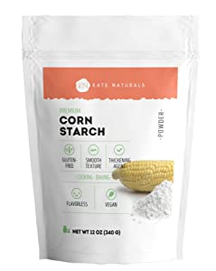 Premium Corn Starch - Kate Naturals. Vegan & Gluten-Free Powder for Cooking & Baking. Natural Thickening Agent for Soups, Gravies, Custards & More. Packed in a Resealable Bag. (12oz)