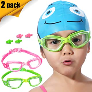 EverSport Kids Swim Goggles, Pack of 2 Kids Swimming Goggles, Crystal Clear Swimming Goggles for Children and Teens, Anti-Fog Anti-UV Youth Swim Glasses, Leak Proof, Soft Silicone Frame, for 3-16 Y/O