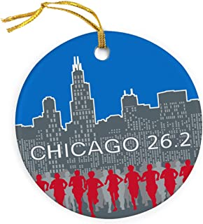 Gone For a Run Running Porcelain Ornament | Chicago 26.2 Skyline Christmas Ornament