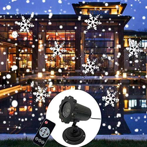 Luces de proyector de Navidad de copo de nieve, luces de proyector LED de nevadas giratorias Impermeables al aire libre con efecto de caída de nieve dinámica remota (White)