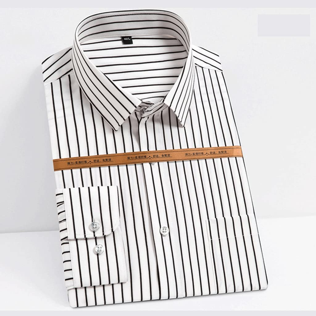 San Diego Mall TJLSS Men's Fashion Long Max 65% OFF Sleeve Striped Silky Sing Fabric Shirts