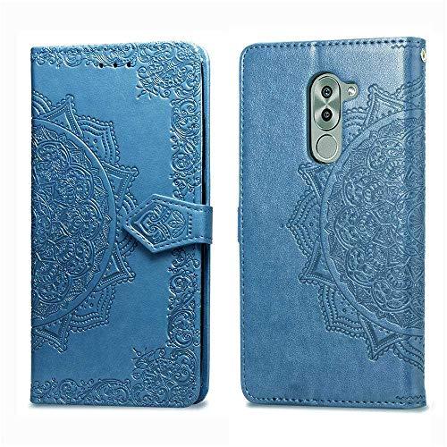 Bear Village Hülle für Huawei Honor 6X, PU Lederhülle Handyhülle für Huawei Honor 6X, Brieftasche Kratzfestes Magnet Handytasche mit Kartenfach, Blau