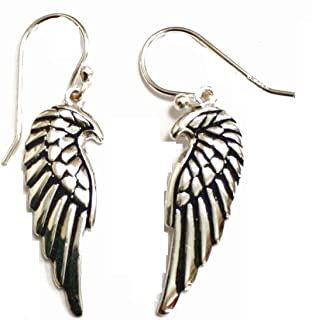 925 Solid Sterling Silver Dangling Angel Wing Drop Earring with French Wire - 100% Hypoallergenic Jewelry