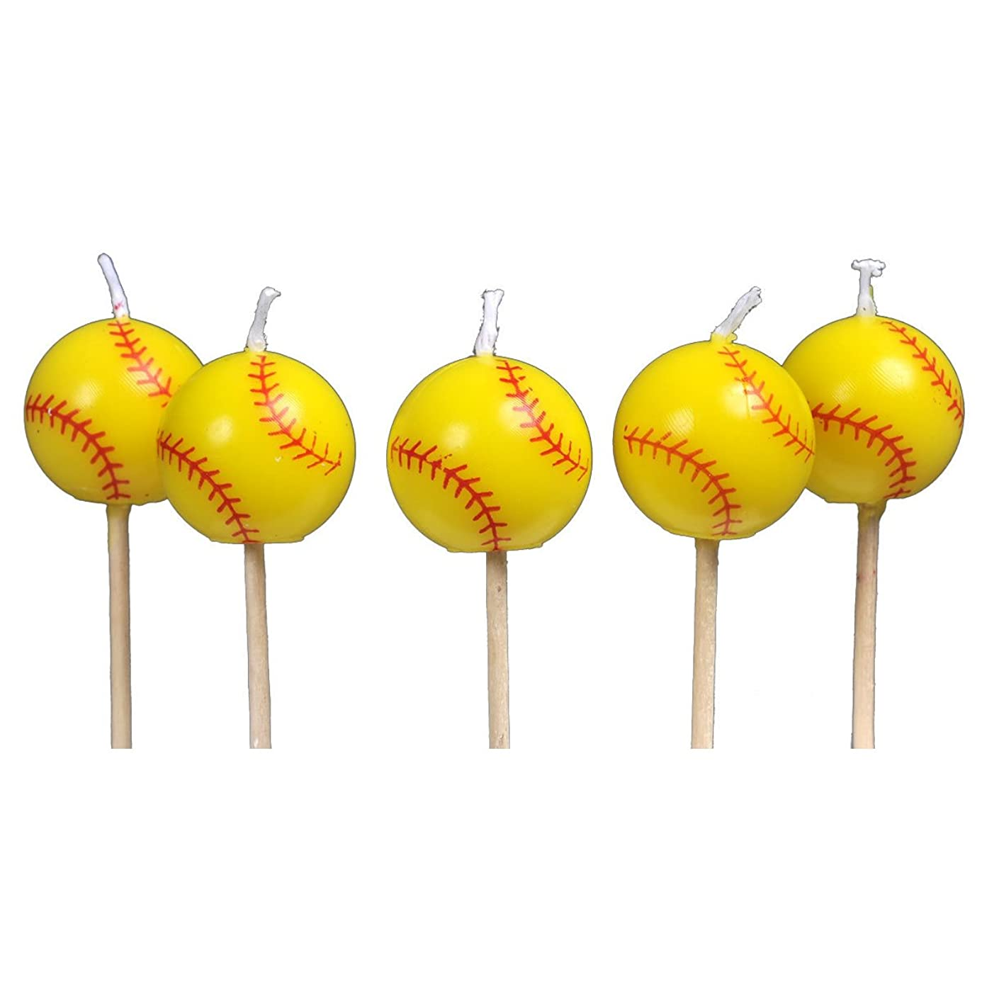 Softball Birthday Candles (5 pack, spherical balls on picks) Girl's Fastpitch Softball - Extra Innings Collection by Havercamp