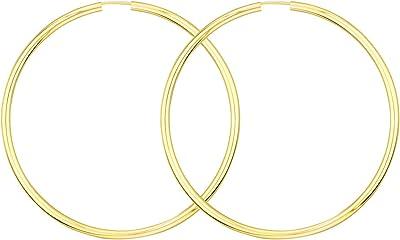 Orecchini in oro giallo 333 o 585 Cerchi Grandi Donna 60 mm, largh. 2,5 mm, marchio di garanzia made in Germany