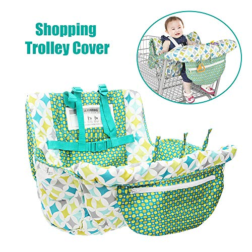 For Sale! Ritioneer 2-in-1 Shopping Cart Covers for Baby,High Chair Cover,Trolley Cover Soft Portable Seat Pad for Shopping Troller or Restaurant Chair