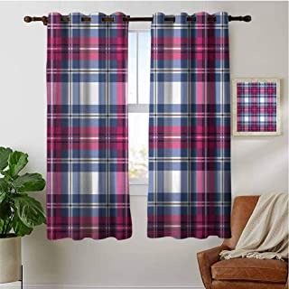 PRUNUSHOME Vintage Scottish Effects Kitchen Curtains Short, Thermal Insulated Window Treatments Blackout Curtain Panels (Set of 2 Panels,42 by 90 Inch)