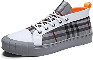 XUJW-Shoes, Mens Fashion Sneaker for Men Sports Shoes Lace Up Style Umbrella Cloth Material Fashion Plaid Texture Casual Durable Comfortable Walking Soft (Color : Gray, Size : 6.5 UK)