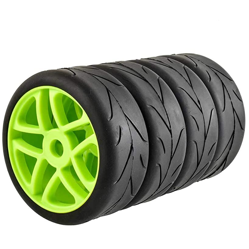 LAFEINA 100mm RC On Road Tire and Wheel Rim Set, 17mm Adapter Slick Tyres for 1/8 Scale Kyosho/Hobao/HSP/HPI RC Car Parts(Green)