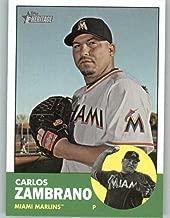 2012 Topps Heritage #473 Carlos Zambrano Marlins MLB Baseball Card (SP - Short Print) NM-MT