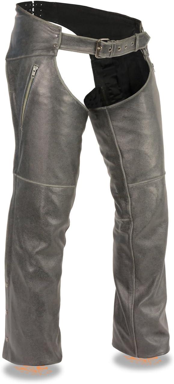 New York Mall Men's Vintage Distressed Grey Leather Zippered Sla w Chaps Over item handling ☆ Biker