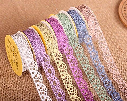 Multicolor Washi-Spitze-Muster Glitter Selbstklebende Spitze-Klebeband-Aufkleber für DIY und...