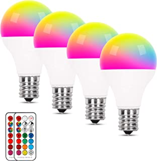 E17 LED電球 電球色 調光 調色可能 リモコン操作 カラー多彩電球 长寿命 装飾照明 雰囲気照明 広配光タイプ 省エネ 記憶機能 タイミング機能 クリスマス/結婚式/パーティー バー/カフェー 4個セット(リモコン付き)