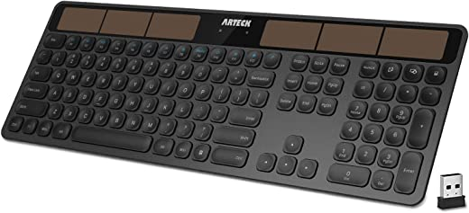 Arteck 2.4G Wireless Keyboard Stainless Steel Ultra Slim Full Size Keyboard with Numeric Keypad for Computer/Desktop/PC/Laptop/Surface/Smart TV and Windows 10/8/ 7 Built in Rechargeable Battery