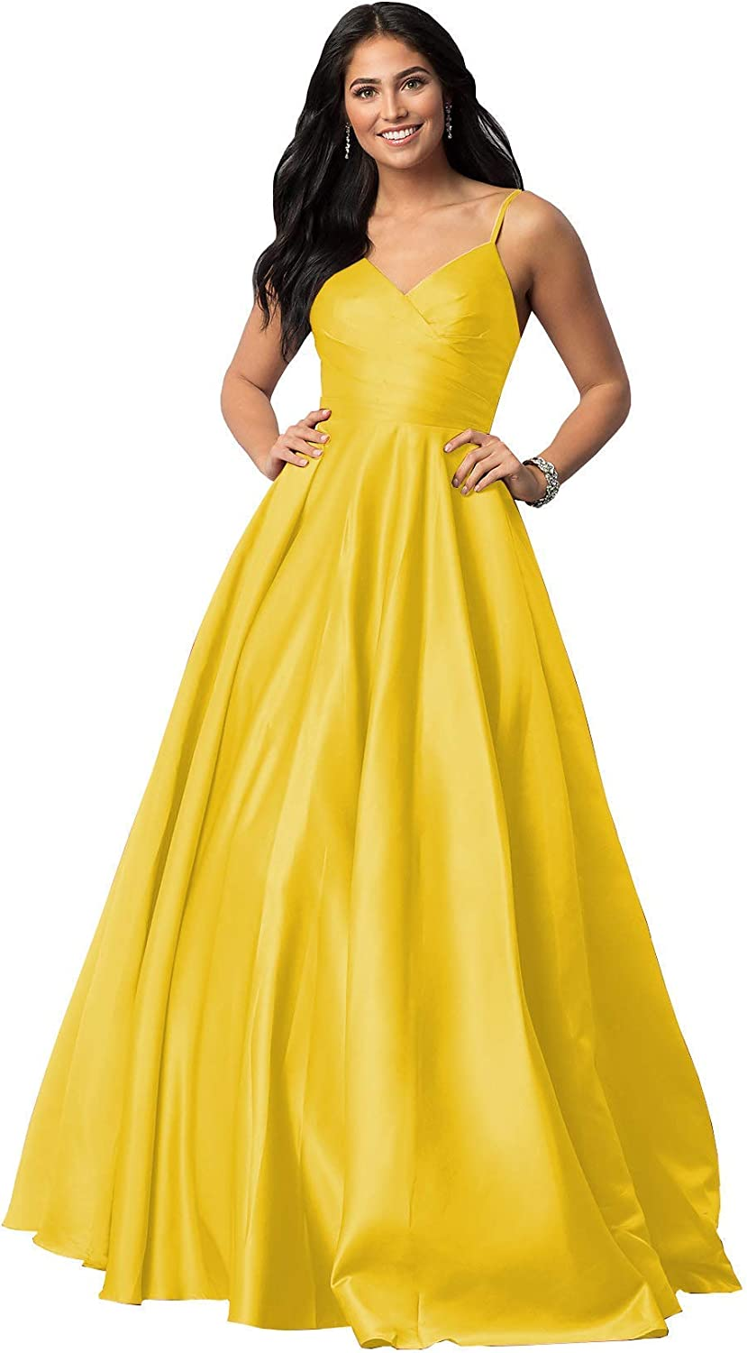 dongprom Women's Satin Prom Dress Long V 55% OFF A-Line Sale special price Straps Form Neck