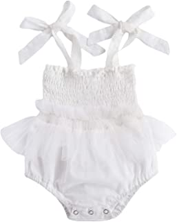 تنورة غزل حديثي الولادة، طفل الفتيات بذلة اللباس الصلبة القوس الخالص تمتد مطوي رومبير قطعة واحدة (Color : White, Kid Size...