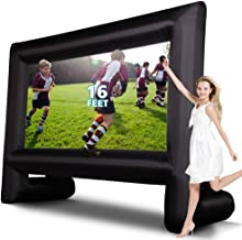 KLMN Inflatable Movie Screen, 16ft Outdoor Video Projection Screen w Blower, Carry Bag for Home Theater, Party