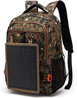 Laptop Backpack Solar Powered Backpack with USB Charging Port Waterproof Nylon Travel Backpack Rucksack College Daypack Fits 15.6 Inch Laptop,B