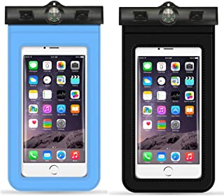 PRILAN 2 Pack Universal Waterproof Phone Case with Airbag or Compass Pouch, Dry Bags Swimming Snorkeling, Clear Sensitive PVC Touch Screen, Phone Case Dry Bag for Most Phone 6-6.5 Inches