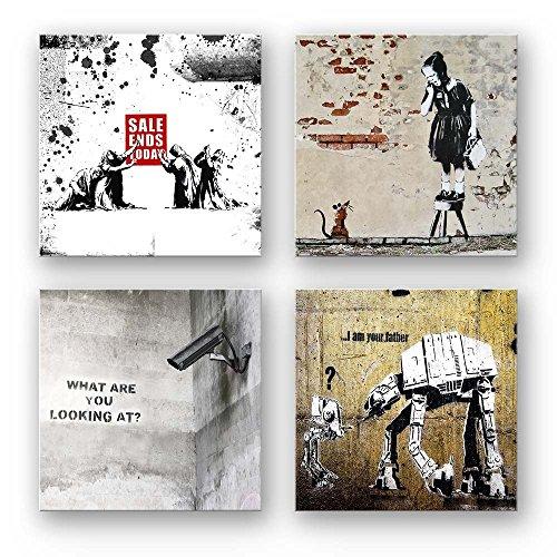 Banksy Bilder Set C, 4-teiliges Bilder-Set jedes Teil 29x29cm, Seidenmatte Optik auf Forex, Moderne schwebende Optik, UV-stabil, wasserfest, Kunstdruck für Büro, Wohnzimmer, XXL Deko Bild