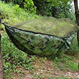 Cocoarm Double Camping Hammock, Portable Camping Tent Hammock with Mosquito/Bug Net, Parachute Nylon Hammock for Camping Backpacking Jungle Travel (Camouflage)
