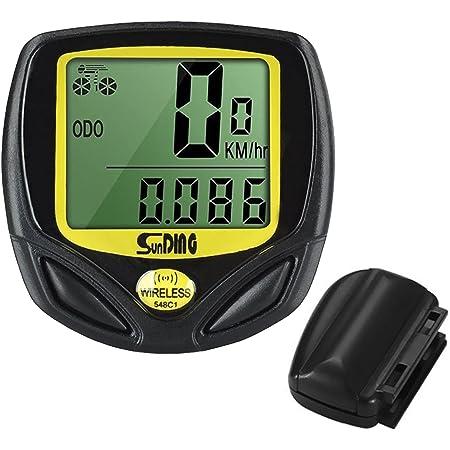 LYYDAN - Tachimetro per bicicletta senza fili, impermeabile, contachilometri, con display LCD retroilluminazione, multifunzione, colore: giallo