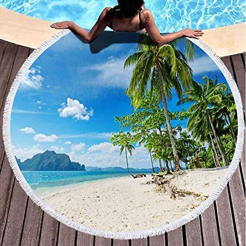 Xuanlin Toallas de Playa para Mujeres, Toallas de Playa para niñas Toalla de Playa Personalizada Tropical Sand Beach Palmeras 60 X 60 Pulgadas Toalla de Playa Redonda de Microfibra