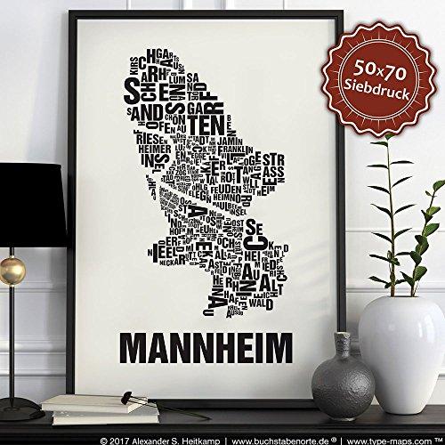 Mannheim Buchstabenort Schwarz auf Naturweiß