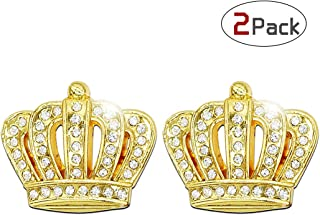 Qimei Bling Car Decoration 3D Decal Sticker Crystal + Crown Car Emblem Exterior & Interior Accessory ×2 Pack (Crown Gold Big)