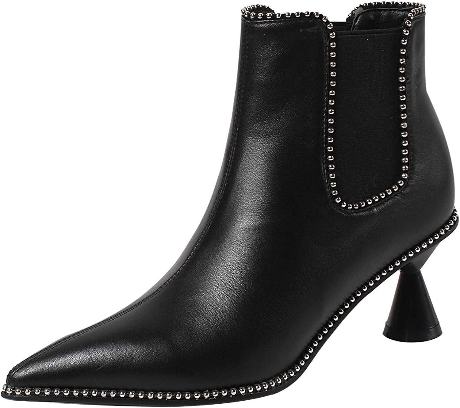 Eithy Women's Shadop Stiletto Ankle-high Zipper Leather Boots