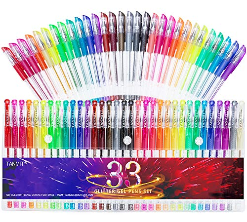 Glitter Gel Pens, 33 Colors Neon Glitter Pens Set Gel Art Markers with 40% More Ink for Adult Coloring Books, Drawing, Journaling, Doodling