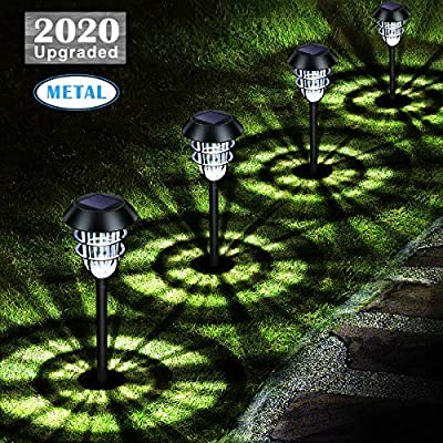 URPOWER Metal Solar Lights Outdoor Upgraded Bright Solar Pathway Lights Waterproof Auto On / Off Garden Lights Solar Powered Solar Landscape Lights for Lawn Yard Patio Path Driveway Cool White(4 Pack)
