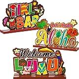 Blulu Luau Party Signs Aloha Signage Tiki Party Table Decoration, Tropical Summer Hawaiian Birthday Party Baby Shower Yard Decoration, Welcome Luau Aloha Let's Hula Tiki Bar Centerpiece, 3 Pieces