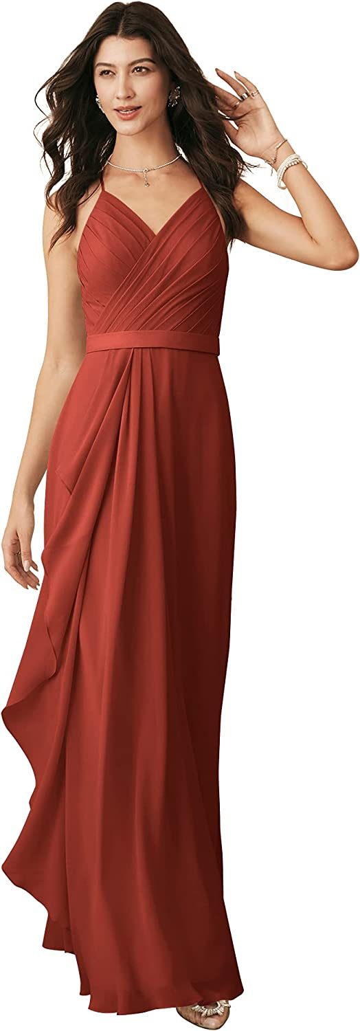 ALICEPUB Spaghetti Strap Chiffon Long Bridesmaid Dresses for Women Formal Party Special Occasion Dress with Cascade