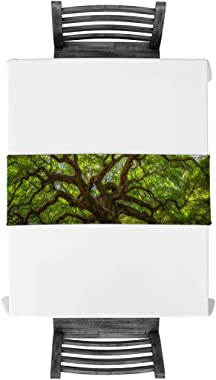 Vandarllin Giant Tree Nature Table Runner with Cotton Linen Blend, Green Table Top Covers Table Runner Decoration for Indoor