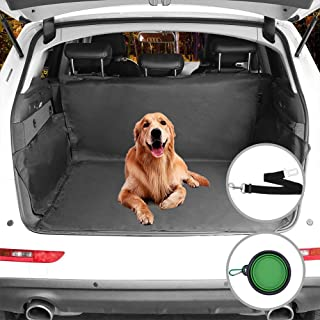 Beauty Star Cargo Liner Cover, Pet Seat Cover for SUVs Cars Trunk Waterproof Material Dog Pet Scratch Proof Muddy Stuff Protect Cover Easy Install Nonslip Mat (Black)+Collapsible Bowl+Dog Seat Belt