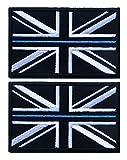 TACVASEN 2 Pieces - Thin Blue Line Police Union Jack Flag Patch UK Badge