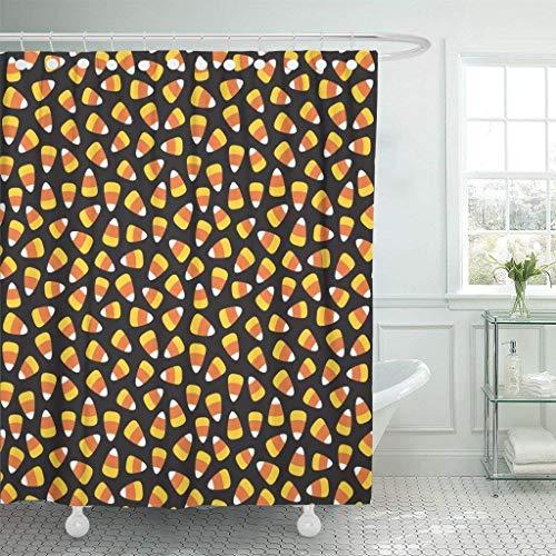 JOOCAR Design Duschvorhang, Orange Herbst Candy Mais Muster Halloween Gelb Leckerli Wasserdicht Stoff Stoff Badezimmer Dekor Set mit Haken