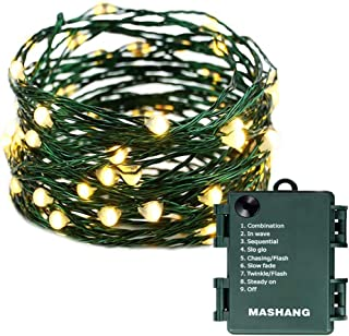 MASHANG Christmas Lights Battery String Lights 33FT 100 Micro LEDs Starry Lights Fairy Lights Firefly Lights with Dark Green Copper Wire for Christmas Tree, Wreath, DIY, Wedding, Holiday(Warm White)