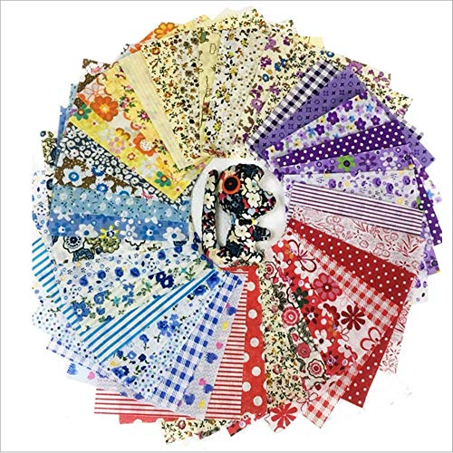 PUNP 50pcs Quilting Cotton Craft Fabric Bundle, DIY Sewing Scrapbooking Quilting Dot Pattern (Multi)