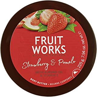 Fruit Works Strawberry & Pomelo Cruelty Free & Vegan Body Butter With Natural Extracts 1x 225g