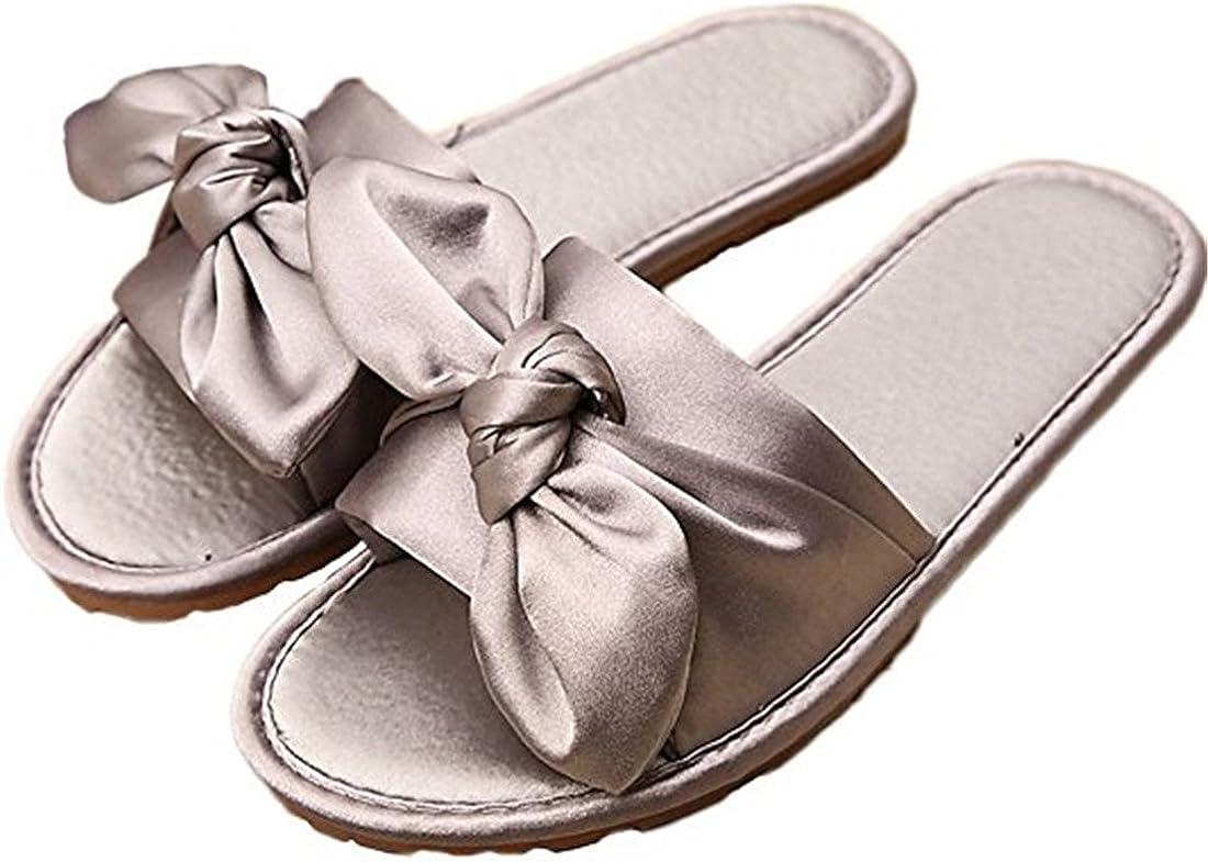 Womens Summer Slide Satin Bow Tie Slip On Flats-Anti-Slip and Breathable Sandal Slipper