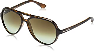 RAY-BAN RB4125 Cats 5000 Aviator Sunglasses, Havana/Green Gradient, 59 mm