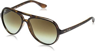RAY-BAN RB4125 Cats 5000 Aviator Sunglasses, Havana/Green Gradient, 59 mm