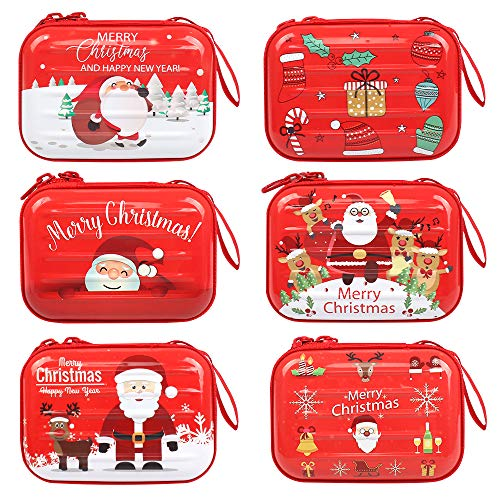 Huayue 6 Stück Weihnachten Geldbörse für Kinder Mini Reißverschluss Geldbörse Pralinenschachtel Weihnachtsmann Weißblech Boxen für Süßigkeiten Schlüssel Münzen (Verschiedene Muster)