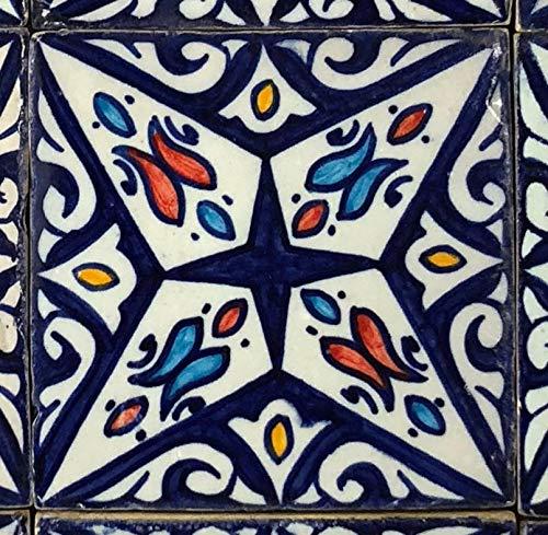 'pintadas a mano marroquí azulejos orientales baldosas de cerámica diseño mosaico azulejos'Hanan 10 x 10 cm   HBF8270   Casa Moro